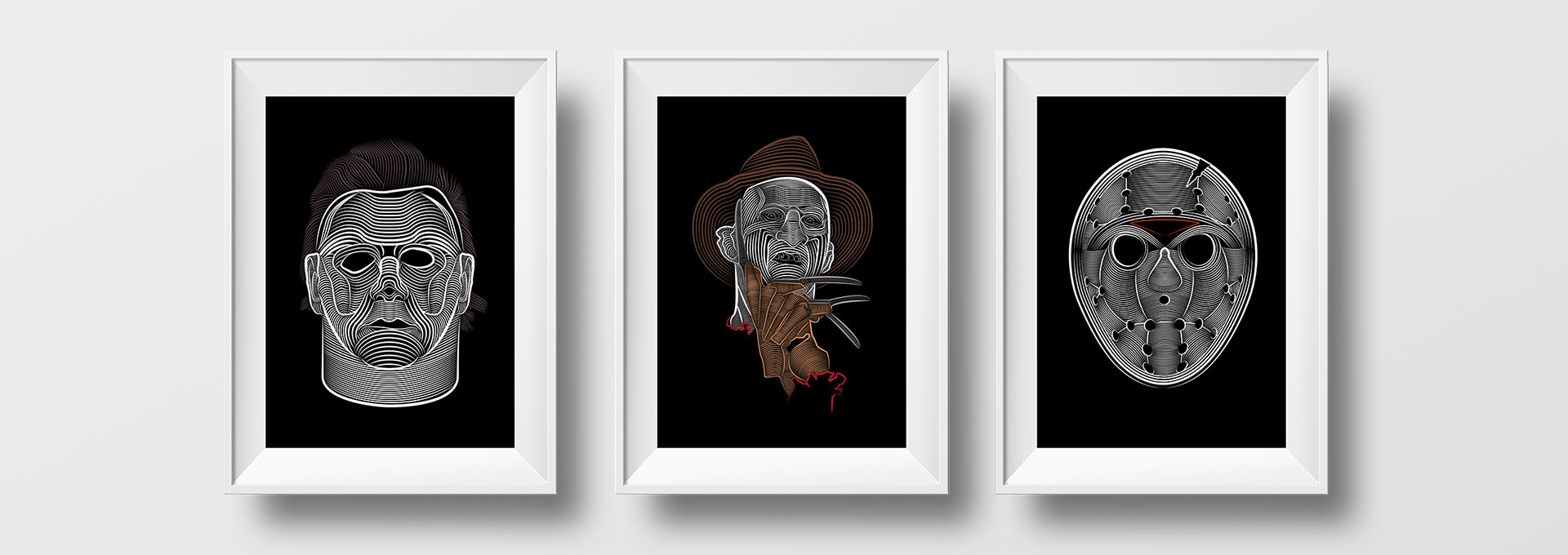 Tableaux Michael Myers, Freddy Kruger, Jason Voorhees