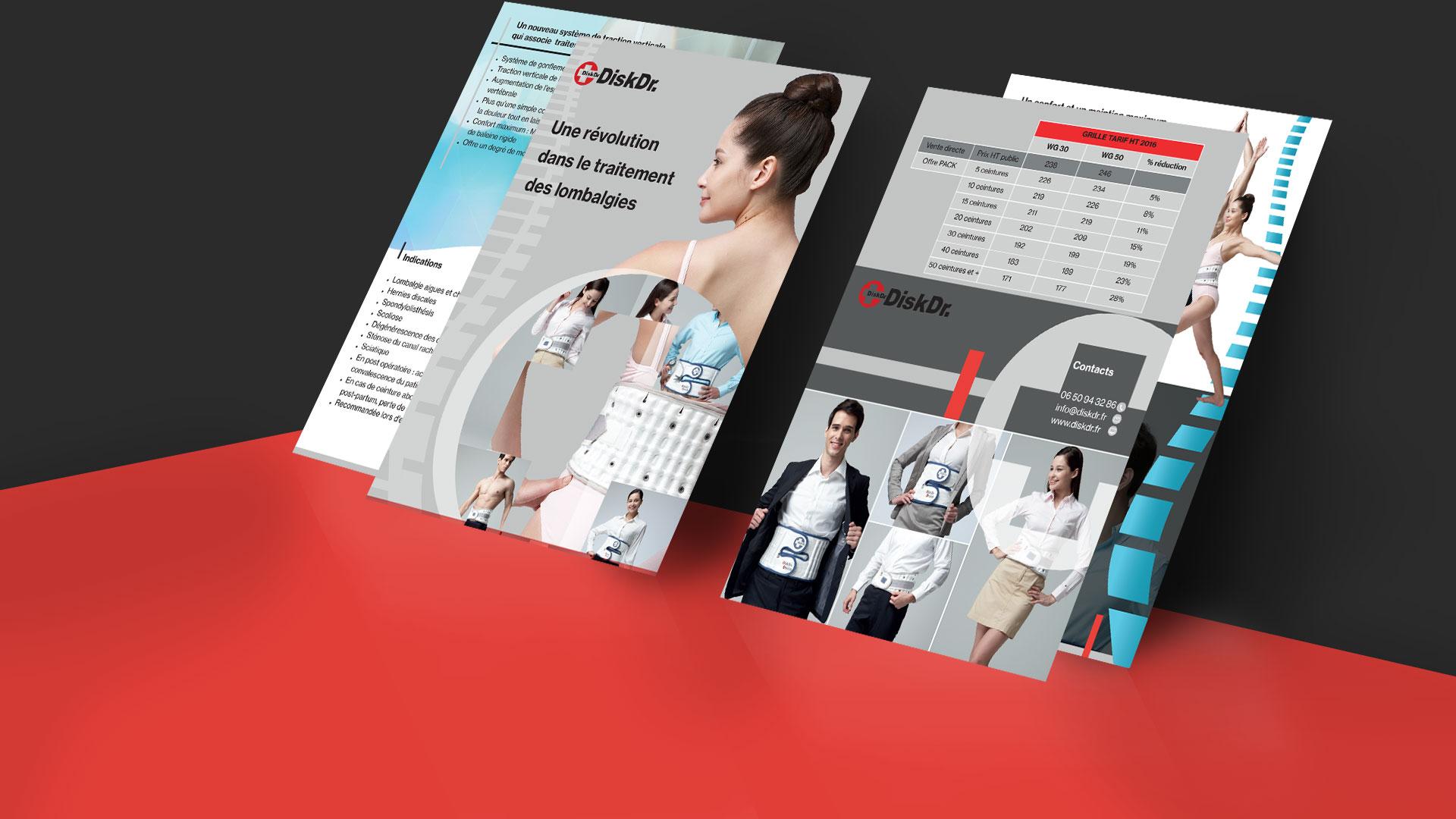 Brochure aide à la vente ceintures lombaires, Disk Dr