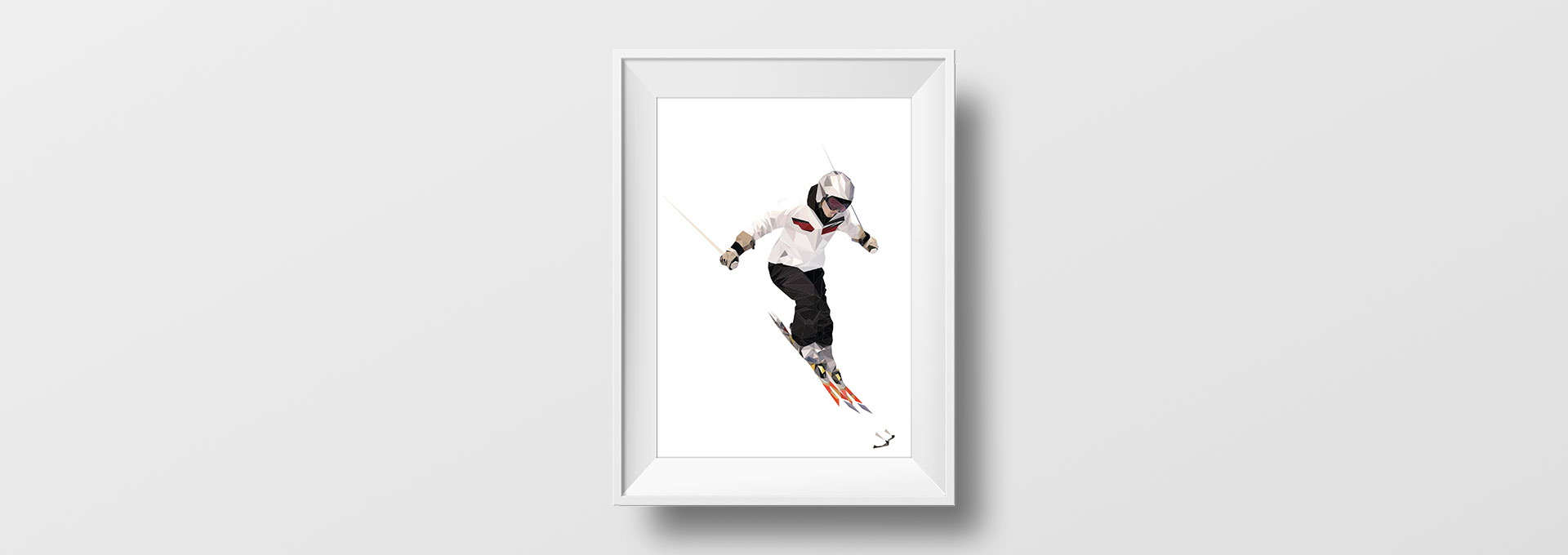 Affiche Low-poly skieur